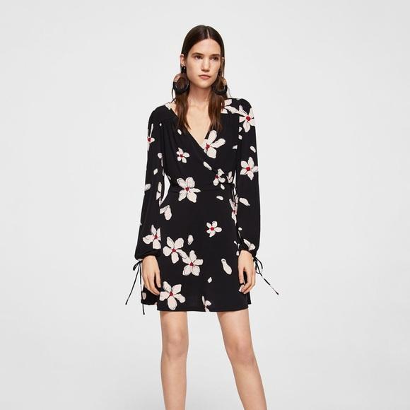 3c99097dc5 Mango Dresses | Navy Floral Faux Wrap Dress Size 6 | Poshmark